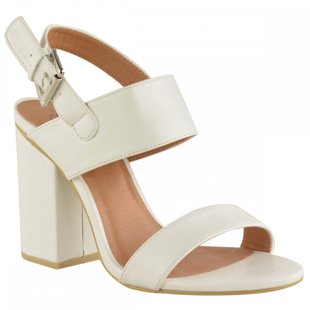 Kate White Leather Pu Cut Out Mid Block Heels Parisia