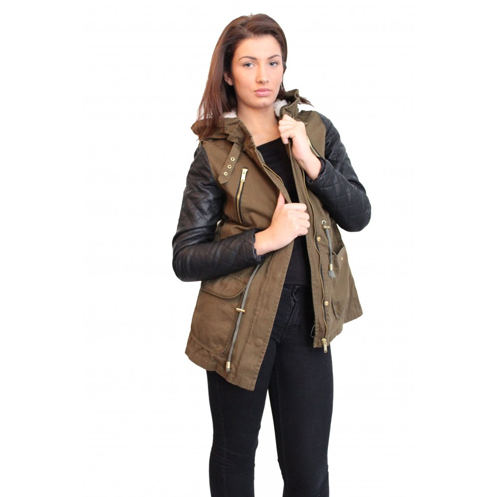 Green Parka Jacket With Leather Sleeves Hn1DaB