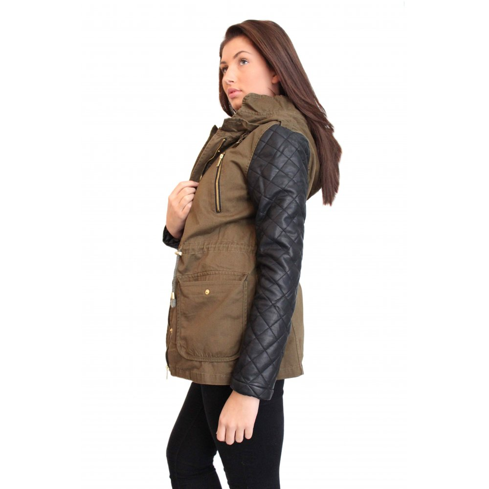 Green Parka Jacket With Leather Sleeves - JacketIn