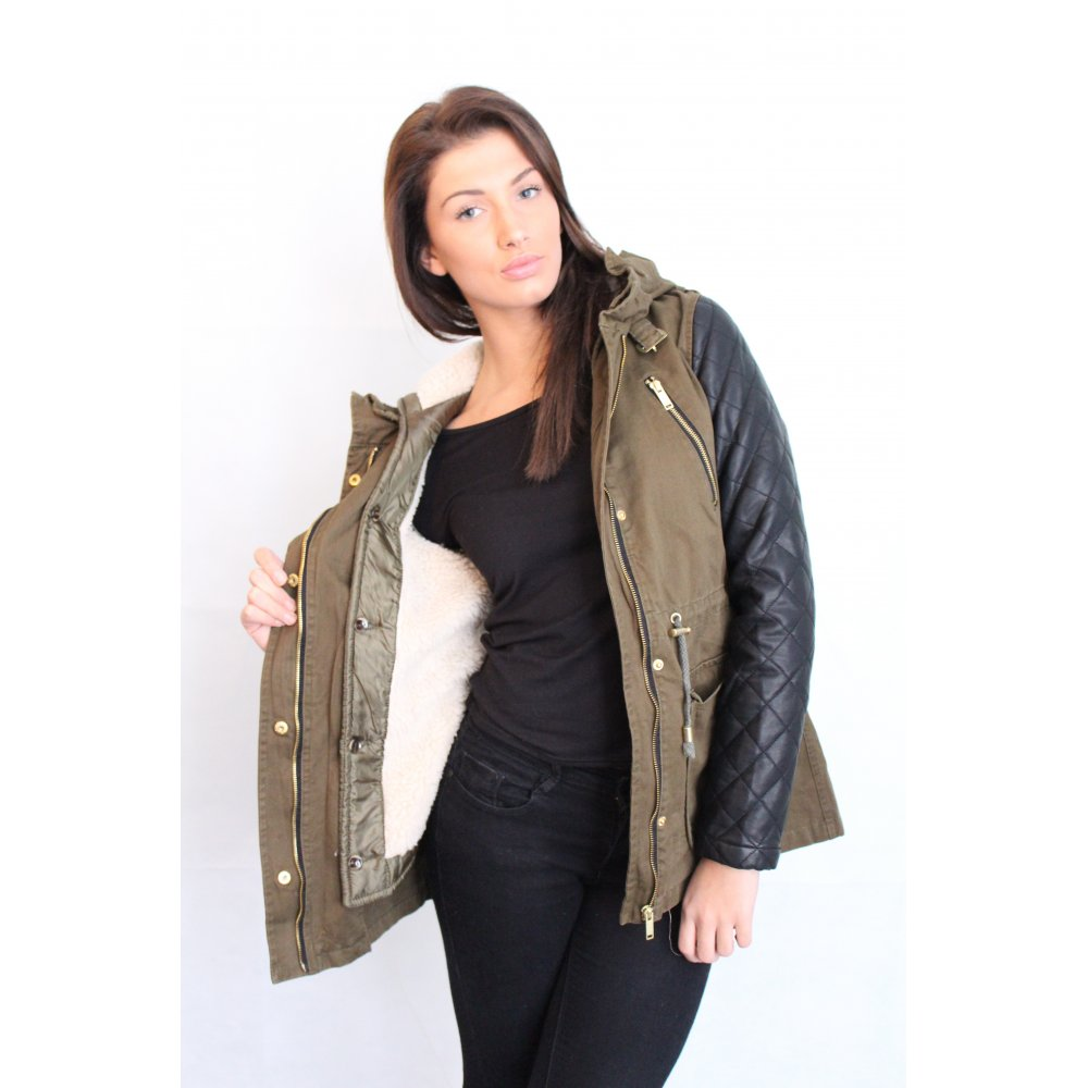 Khaki Green Parka 2 in 1 Coat With Leather Quilted Sleeve's From