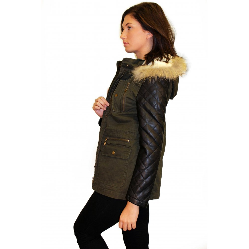 Jacket with Faux Leather Quilted Sleeves