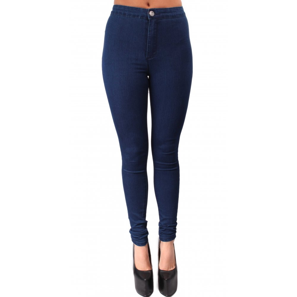 Indigo Blue High-Waisted Skinny Jeans