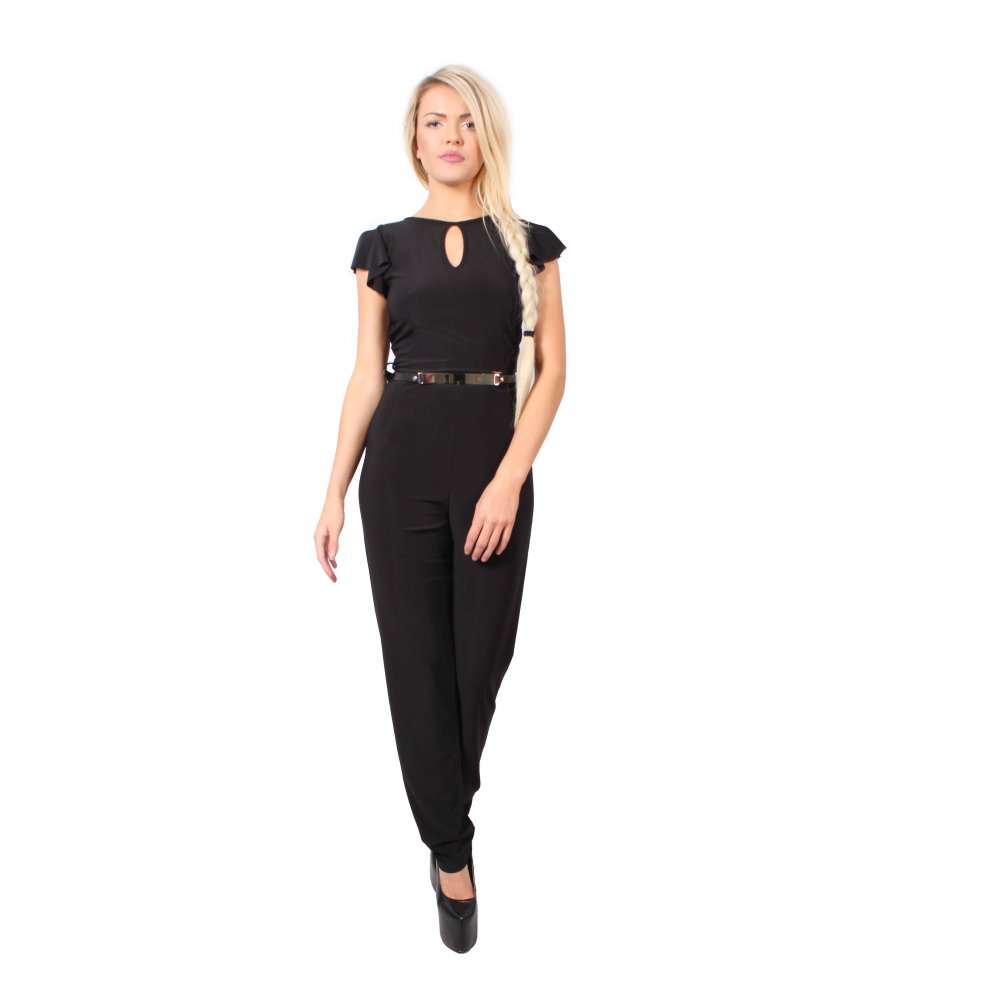 Kylie Black Jumpsuit with Short floaty Sleeves - Parisia Fashion