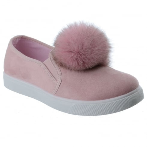 Laura Baby Pink Faux Suede Pom Pom Slip On Trainers
