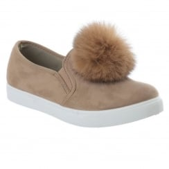 Laura Beige Faux Suede Pom Pom Slip On Trainers