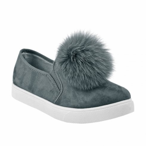 Laura Grey Faux Suede Pom Pom Slip On Trainers