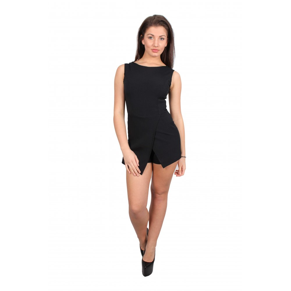 539ecfa7922 Layla Black Sleeveless Skort Playsuit - Parisia Fashion
