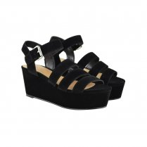 Leah Black Strappy Flatform Style Wedge Sandals