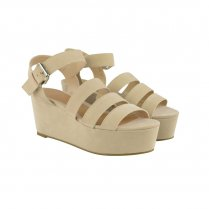 Leah Nude Strappy Flatfom Wedge Sandals