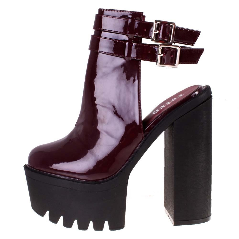 burgundy patent high heel double buckle ankle boots parisia fashion. Black Bedroom Furniture Sets. Home Design Ideas