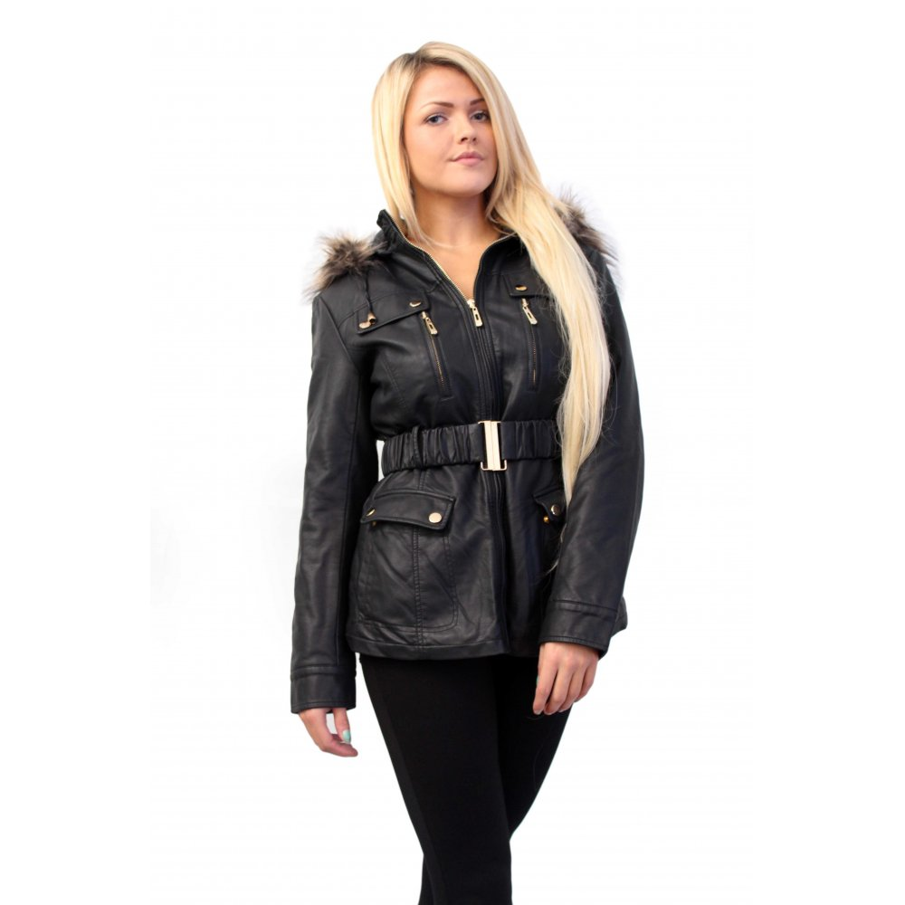 leather jacket with belt waist and fur from parisia