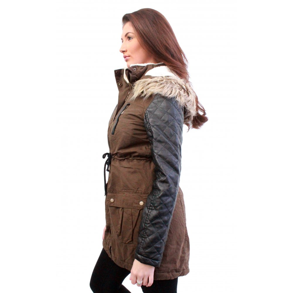 Leather Sleeve Parka Jacket