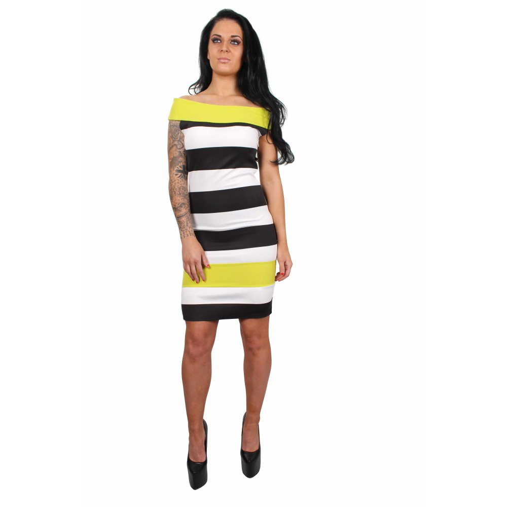 Lulus Exclusive! Make them stop and stare in the Lulus My Oh My Black and White Striped Bodycon Dress! Adjustable spaghetti straps top a square neckline and darted bodice formed from flattering stretch knit in an asymmetrical black and white striped pattern. Fitted waist tops a bodycon envelope /5(21).