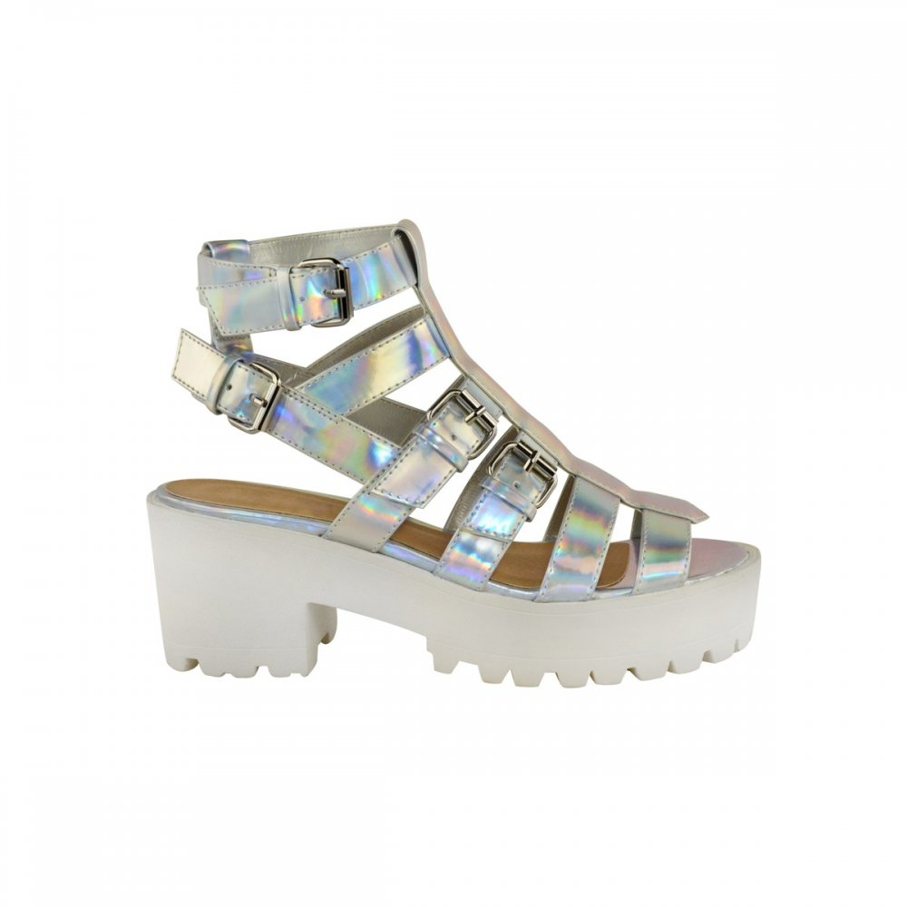 Silver Chunky Heel Sandals