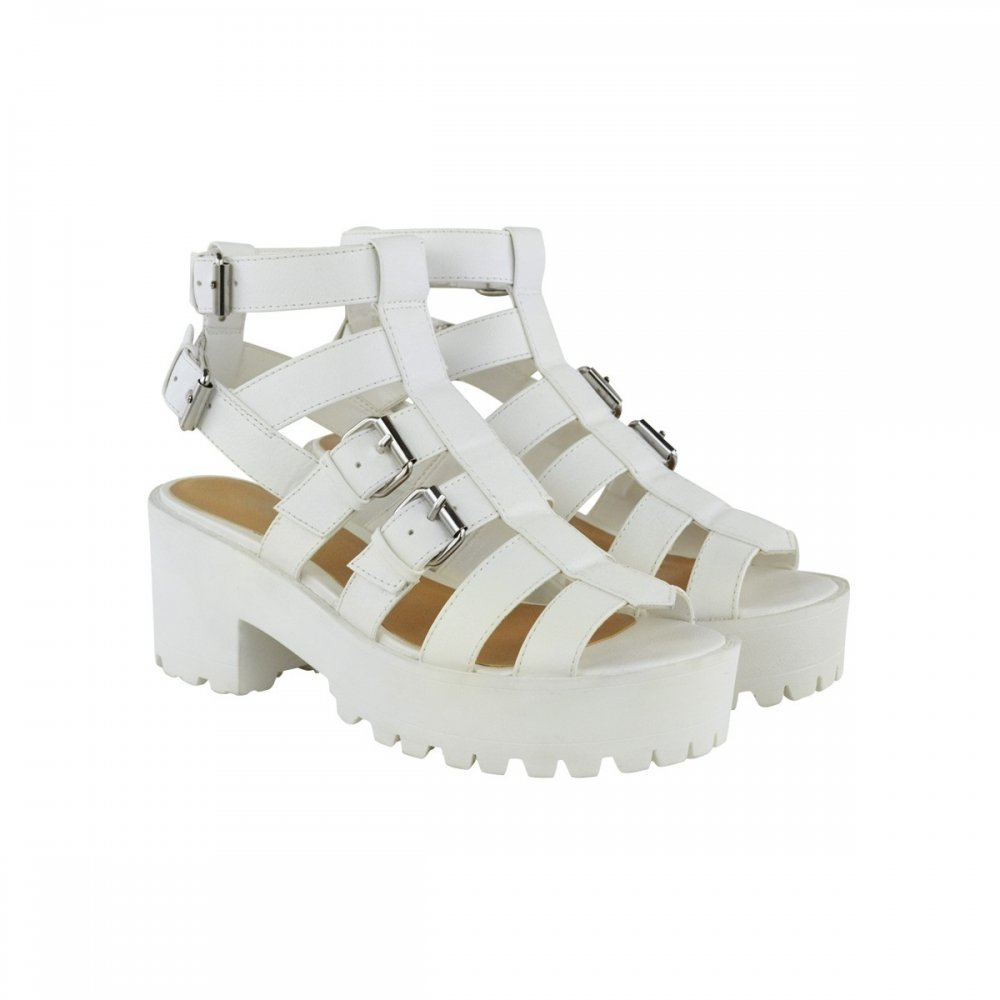 2f5dd7a8c50 Lexie White Cut Out Chunky Heel Double Buckle Sandals Parisia Fashion