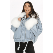 Light Blue Faux Fur Colllar and Cuff Denim Jacket