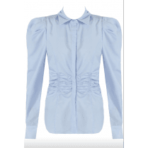 Light Blue Pleated Shoulder Ruched Waist Fitted Collared Long Sleeve Shirt