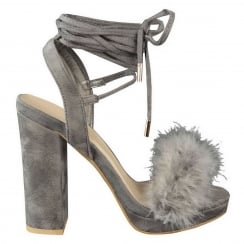 Light Grey Faux Fur Block High Heel Tie up Heels