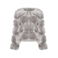 Light Grey Faux Fur Layered Coat