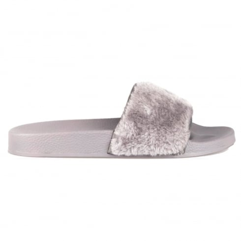 Light Grey Faux Fur Slip On Slider Sandals