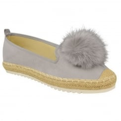Light Grey Faux Suede Pom Pom Casual Shoes