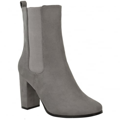 Light Grey Faux Suede Side Elasticated Block High Heel Ankle Boots