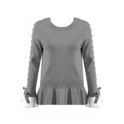 Light Grey Jumper With Diamante Sleeve And Shirt Cuff And Neckline