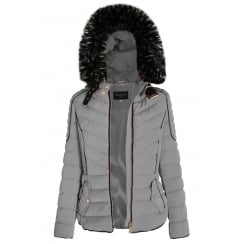 Light Grey Layered Quilted Puffer Jacket With Black Faux Fur Trim Hood