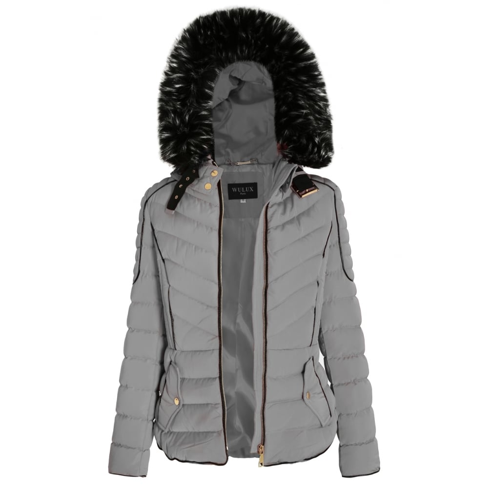 fe242ff02c75a Light Grey Layered Quilted Puffer Jacket With Black Faux Fur Trim Hood