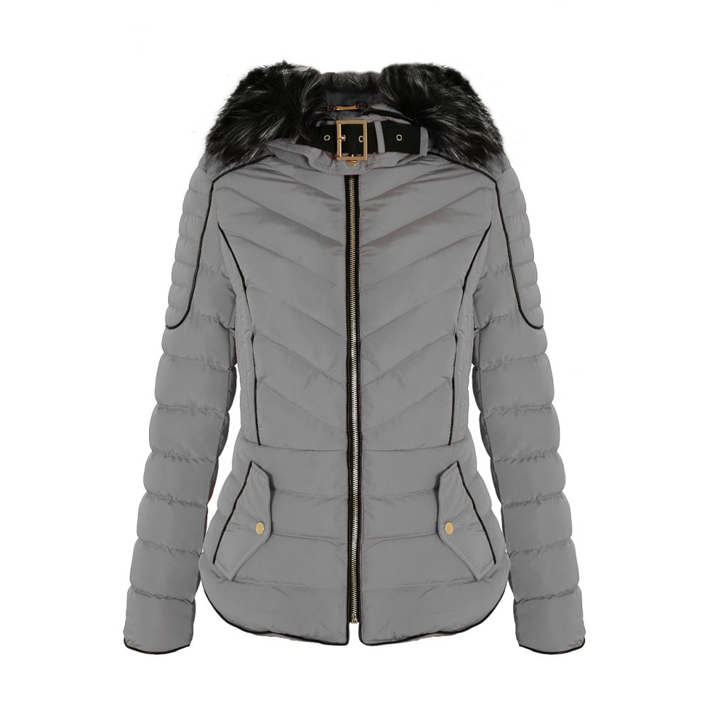 a378d6532ad7 Light Grey Layered Quilted Puffer Jacket With Black Faux Fur Trim Hood