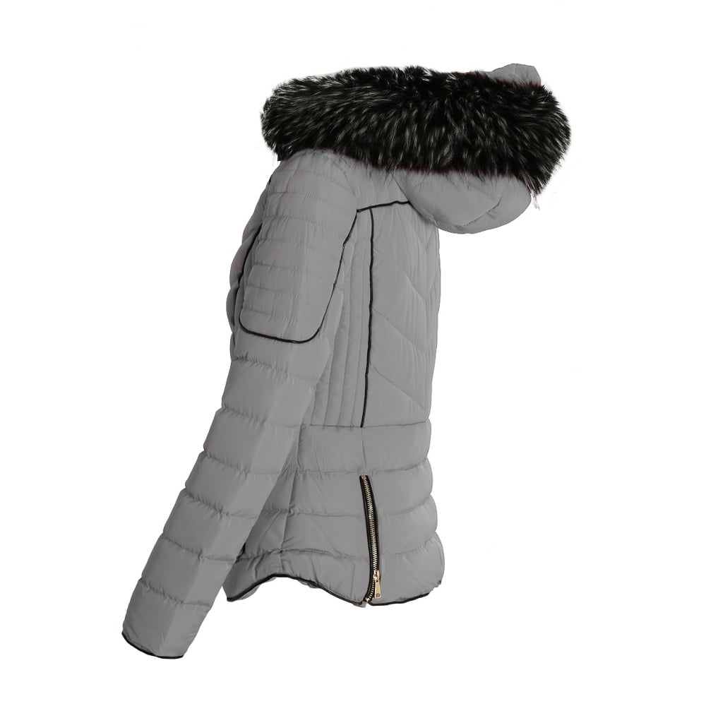 d3e58ed37fac Light Grey Layered Quilted Puffer Jacket With Black Faux Fur Trim Hood