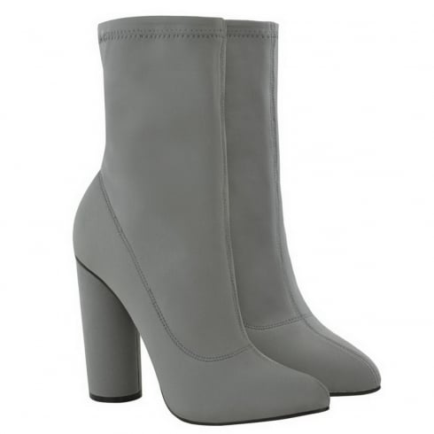Light Grey Lycra Pointed High Cylinder Heel Ankle Boots