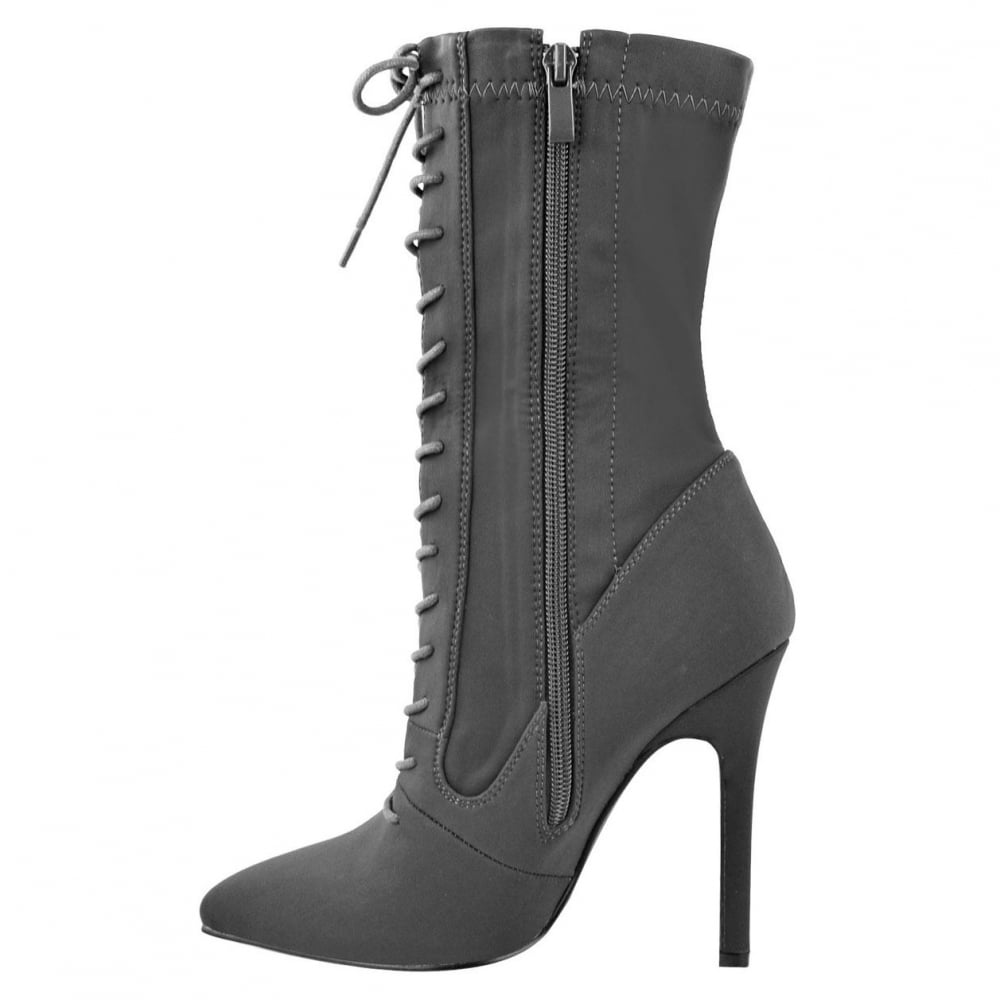 d34a3e3b70f2 ... Light Grey Lycra Pointed Toes Lace Up Front Stiletto High Heel Ankle  Boots