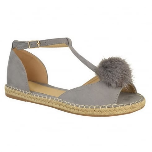 Light Grey Pom Pom Cut Out Open Toe Sandals