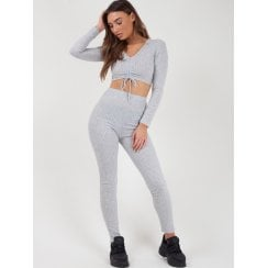 Light Grey Ribbed Ruched Lace Tie Crop Top And High Waist Legging Tracksuit Set