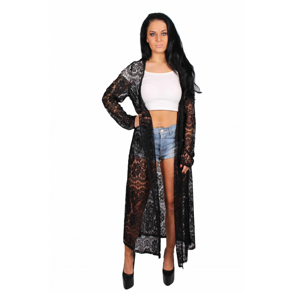 Long Black Lace Kimono - Parisia Fashion