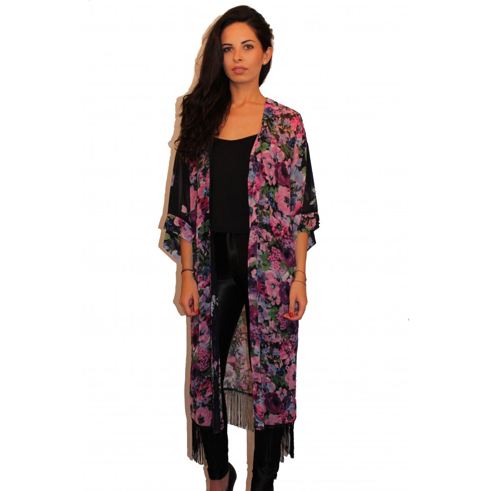 Http Www Parisiafashion Co Uk Clothing C7 Kimonos C8 Long Floral Print Fringed Kimono P119