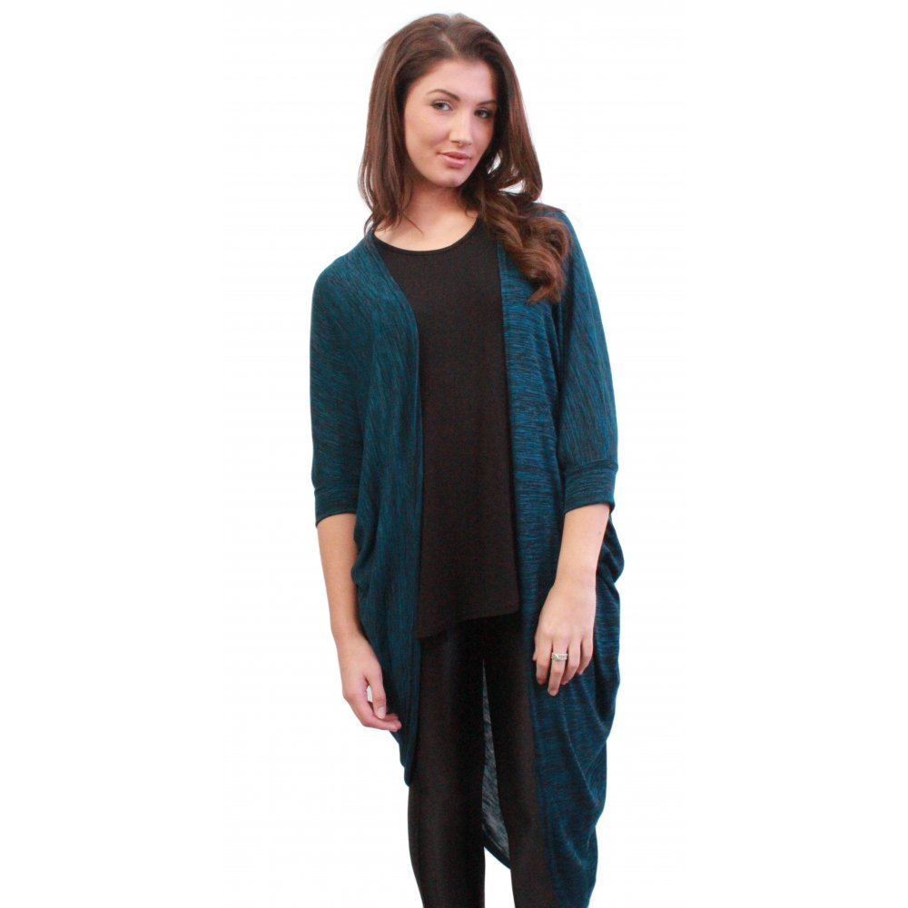Emmie Long Length Blue Draped Jersey Cardigan From Parisia