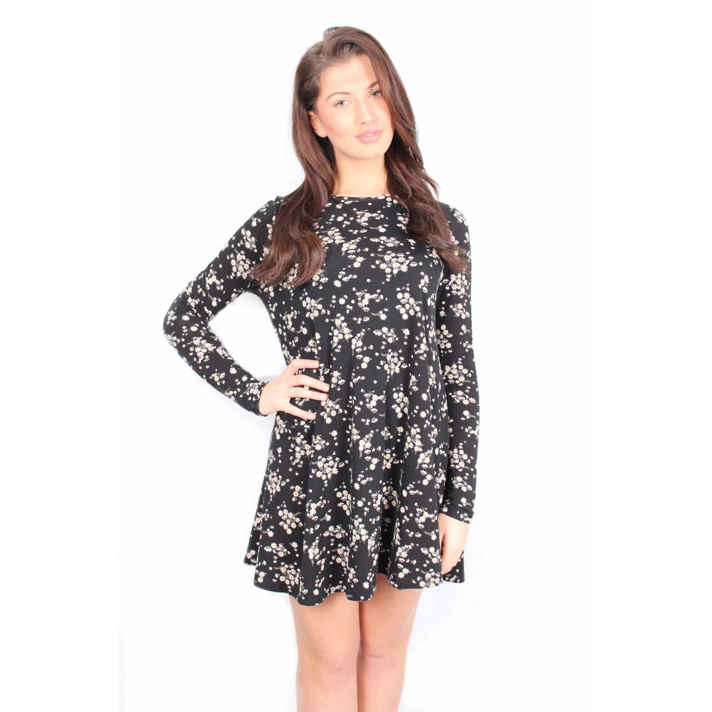 0f4486161f2 Lucy Black Floral Long Sleeved Swing Dress From Parisia
