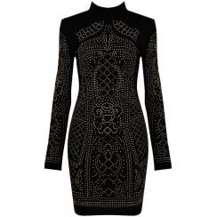 Lucy Black Studded Long Sleeve Bodycon Dress