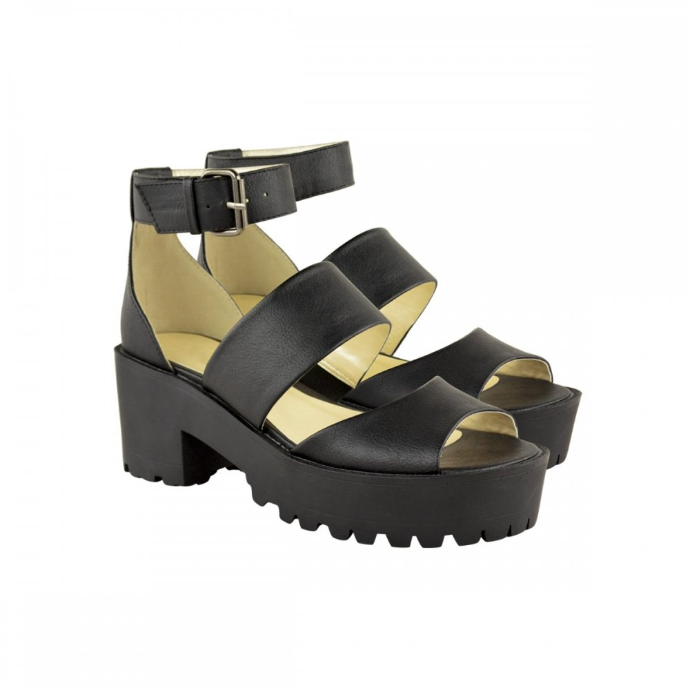 Black sandals chunky - Maya Black Cut Out Chunky Cleated Sole Sandals