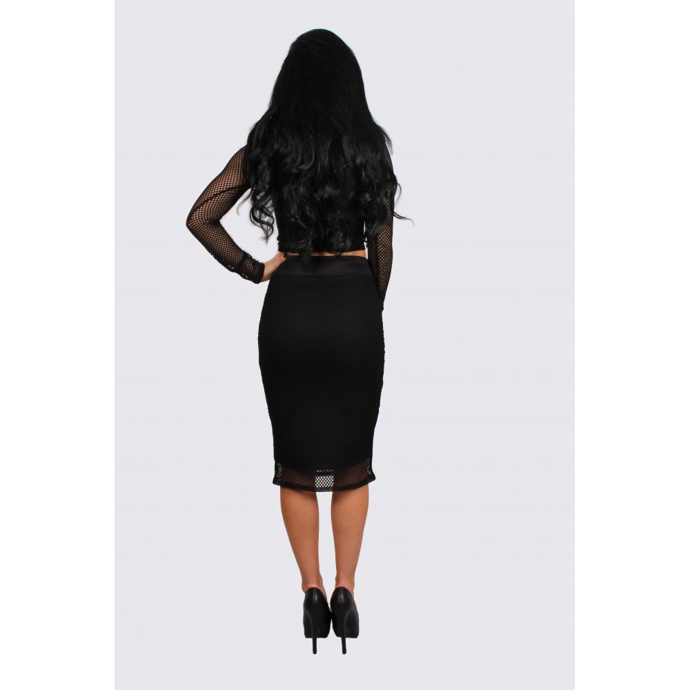 miley black fishnet crop top midi skirt set