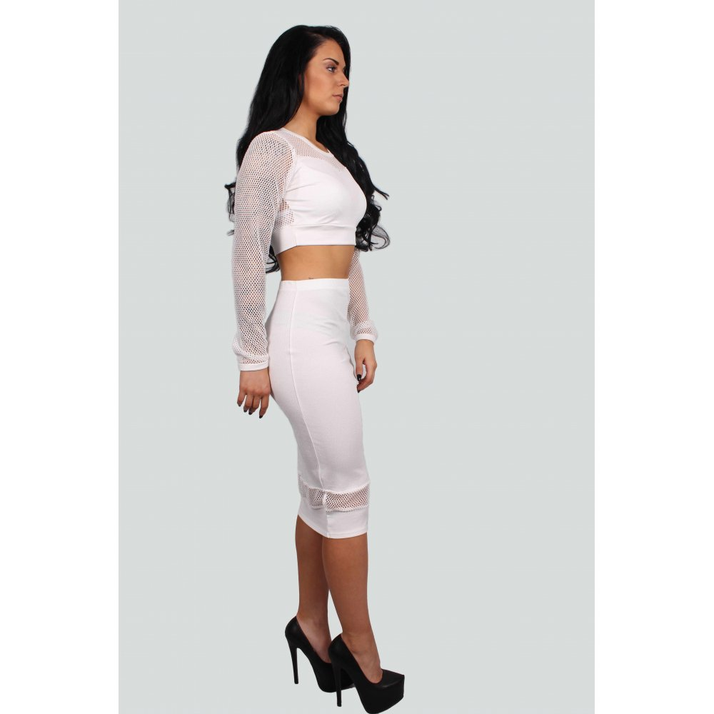 Miley White Fishnet Crop Top And Midi Skirt Set - Parisia Fashion