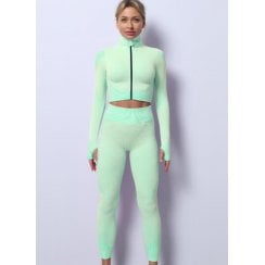Mint Green 3pc Crop Top Crop Jacket Leggings Gym Set Co-ord