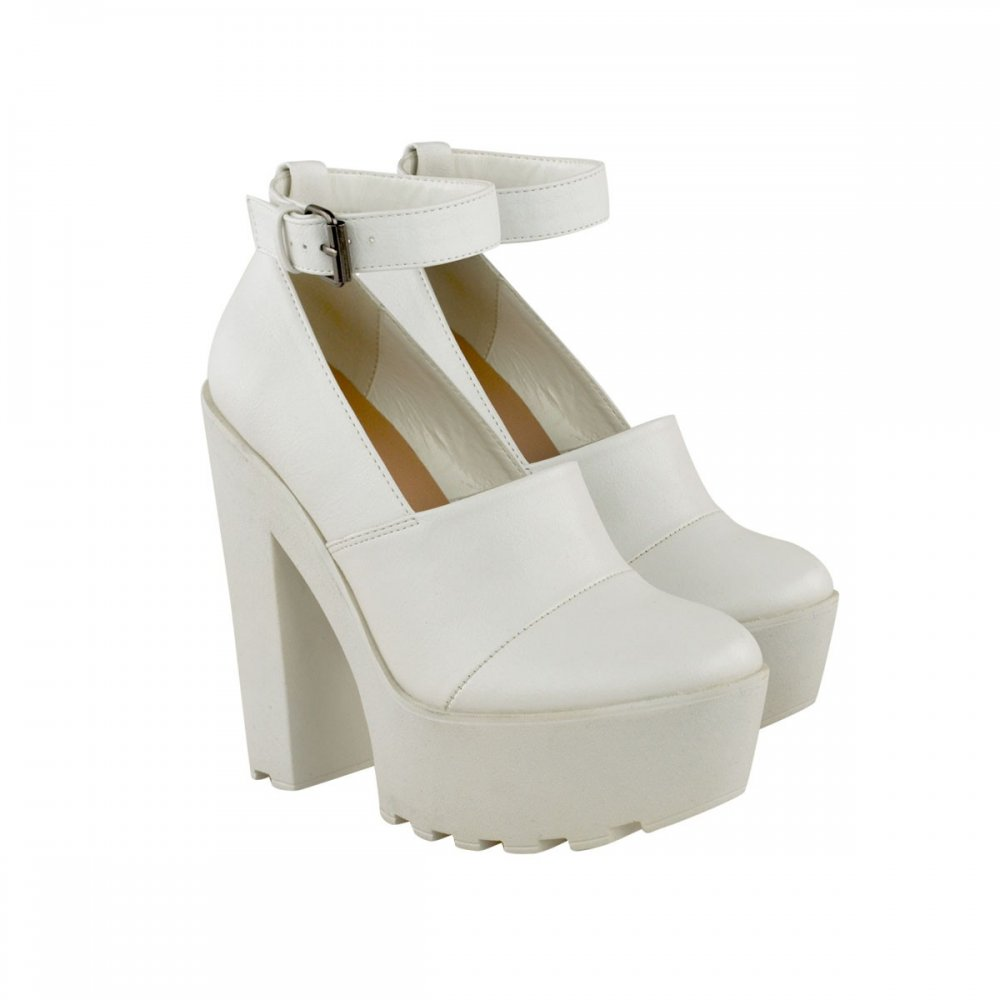 Mollie White Block Heel Ankle Strap Shoes