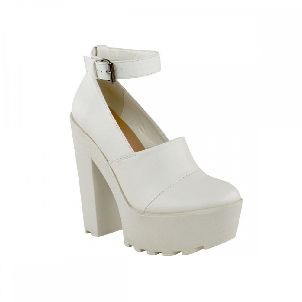 cf720ed67e81 Mollie White Block Heel Ankle Strap Shoes - Parisia Fashion