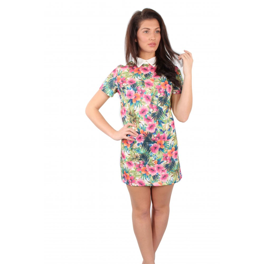 Dresses multi coloured floral print shift dress with white collar