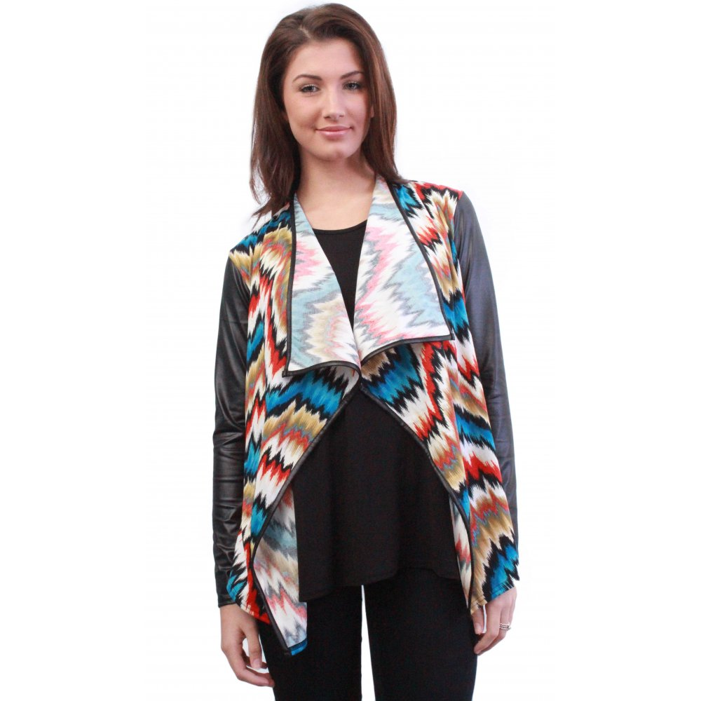 Multi Coloured Patterned Waterfall Cardigan With Leather Sleeves ...