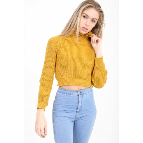 Mustard Yellow Cropped Frill Neck Knitted Jumper