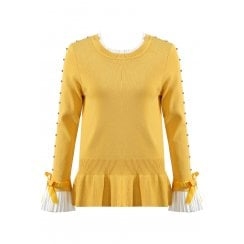 Mustard Yellow Jumper With Diamante Sleeve And Shirt Cuff And Neckline